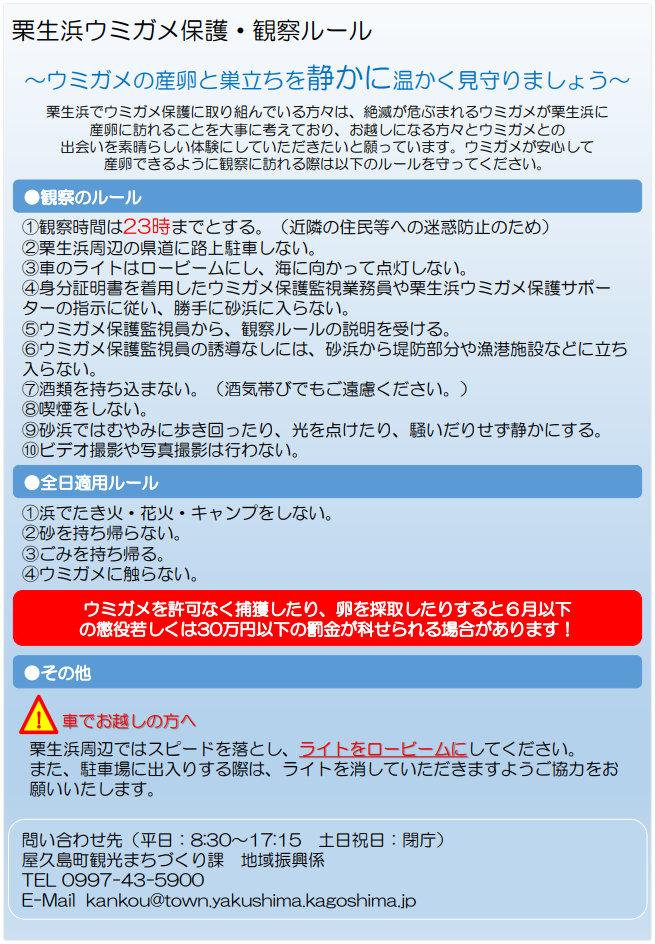 栗生浜ウミガメ保護・観察ルール